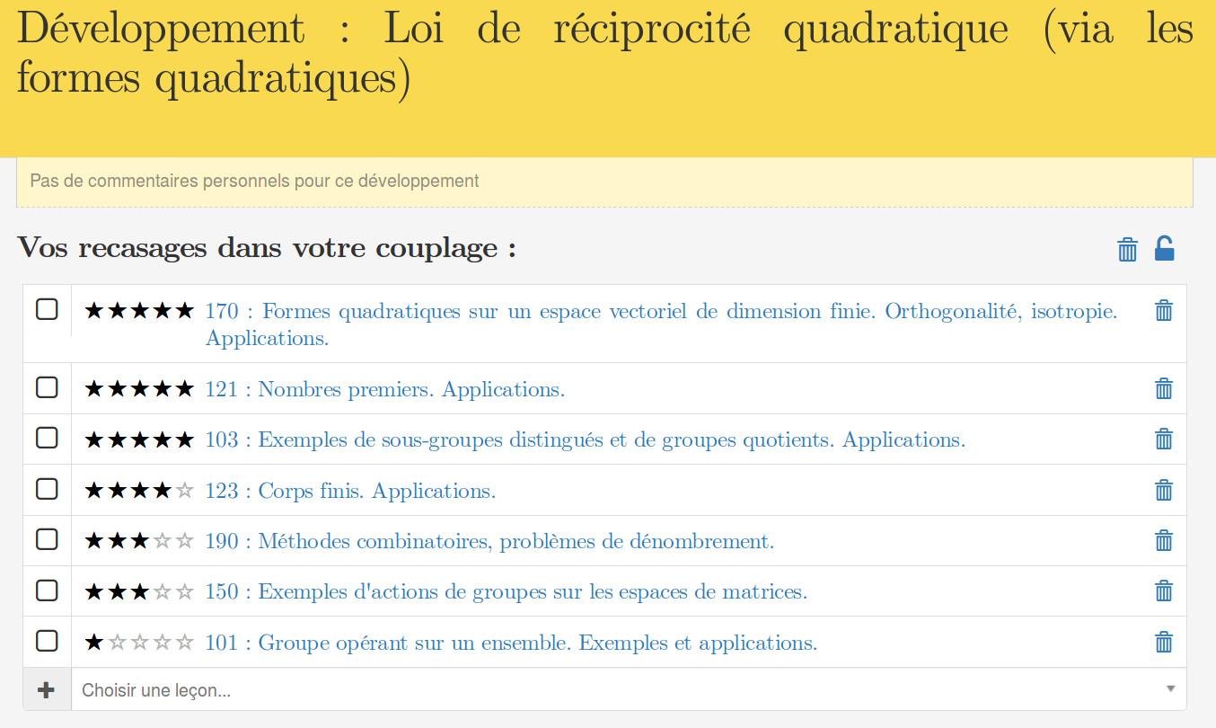 Intégration dans la page d'une leçon.
